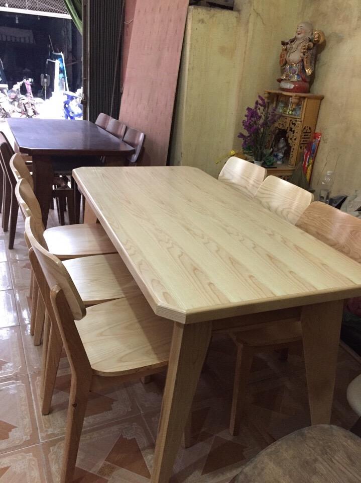 Bàn ăn gỗ sồi nga mặt liền 6 ghế