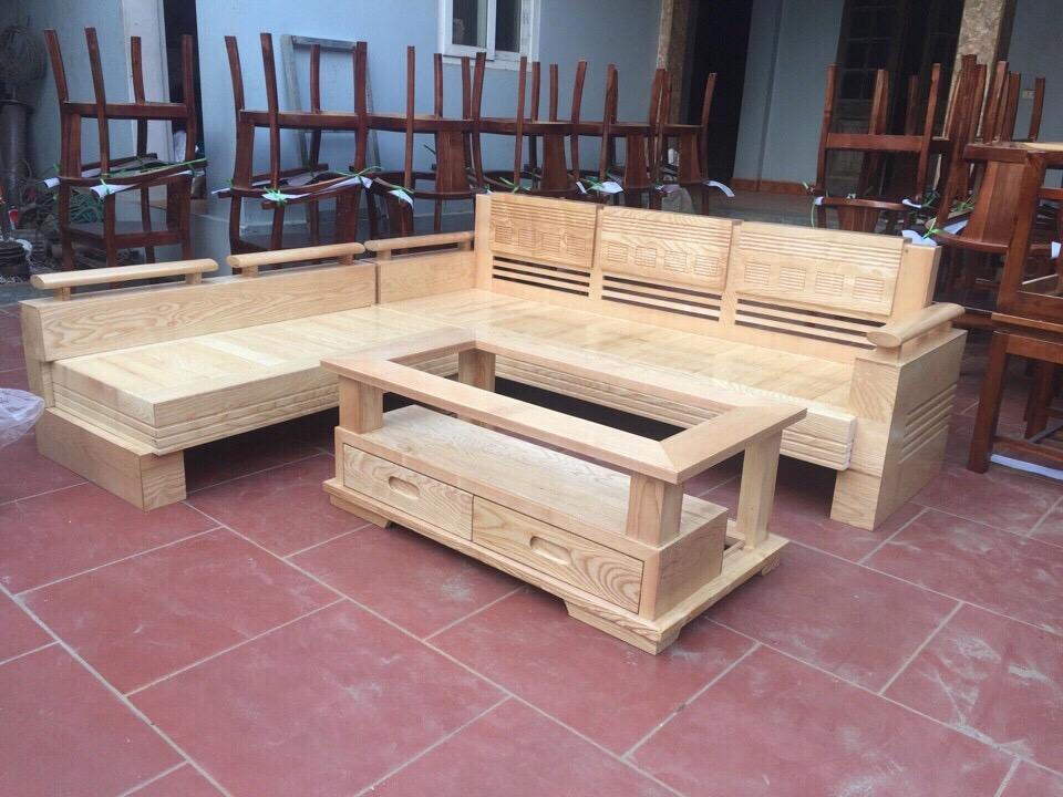 Sofa góc gỗ sồi GGS014
